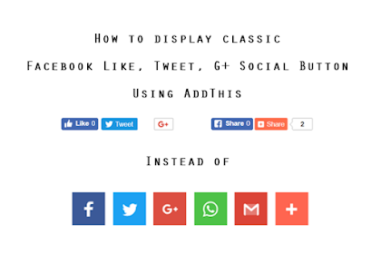 How to display classic Facebook Like, Tweet and Google + buttons using AddThis?