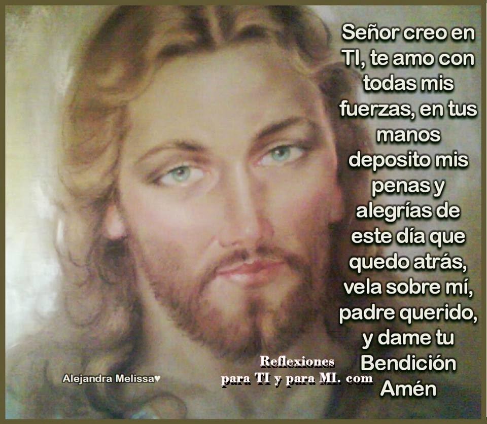Señor, creo en TI, te amo con todas mis fuerzas...  En tus Manos deposito  mis penas y alegrías  de este día que quedó atrás...  Vela sobre mí,  Padre querido, y dame tu Bendición!.  Amén!