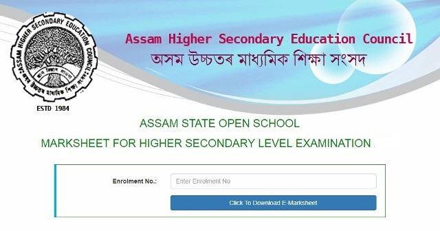 Assam SOS HS Mark Sheet 2019-