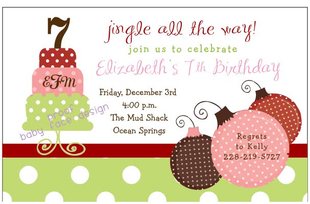 Christmas Birthday Party Invitations.Baby Face Design Christmas Birthday Party Invitation For Kids