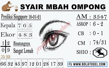 Syair Mbah Ompong SGP Senin 18-01-2021
