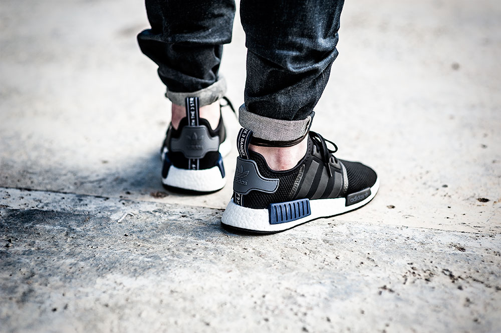JD Sports X Adidas Originals NMD R1 Black Sneakers / Denham The Jeanmaker Razor VIS Raw Selvedge Denim by Tom Cunningham
