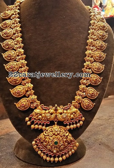 Floral Peacock Nakshi Long Chain Jewellery Designs