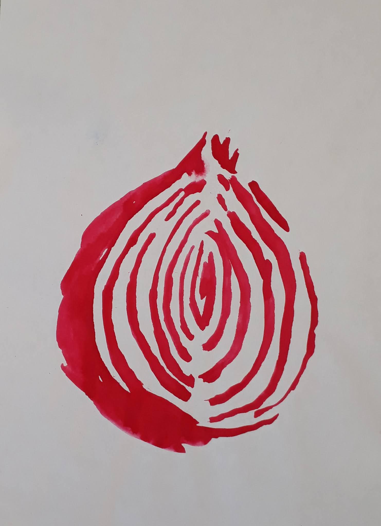 Punasipuli vesivärimaalaus