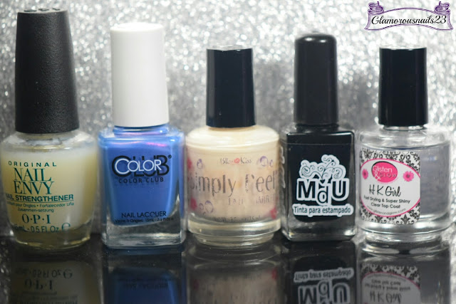 O.P.I Original Nail Envy, Color Club Bell Bottom Babe, Bliss Kiss Simply Peel Latex Barrier, Mundo De Unas Black, Glisten & Glow HK Girl Fast Drying Top Coat