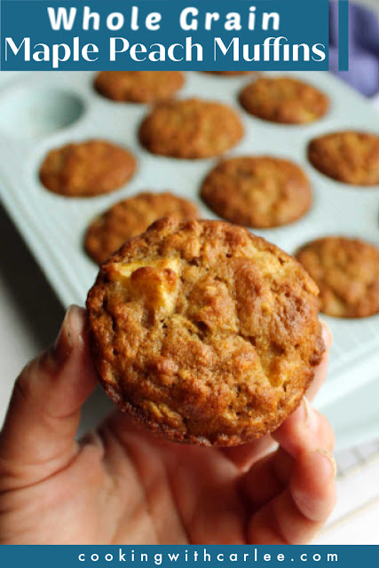 These lightly sweet muffins are loaded with the good stuff. Whole grains, chunks of peach and maple syrup make them a breakfast dream come true.