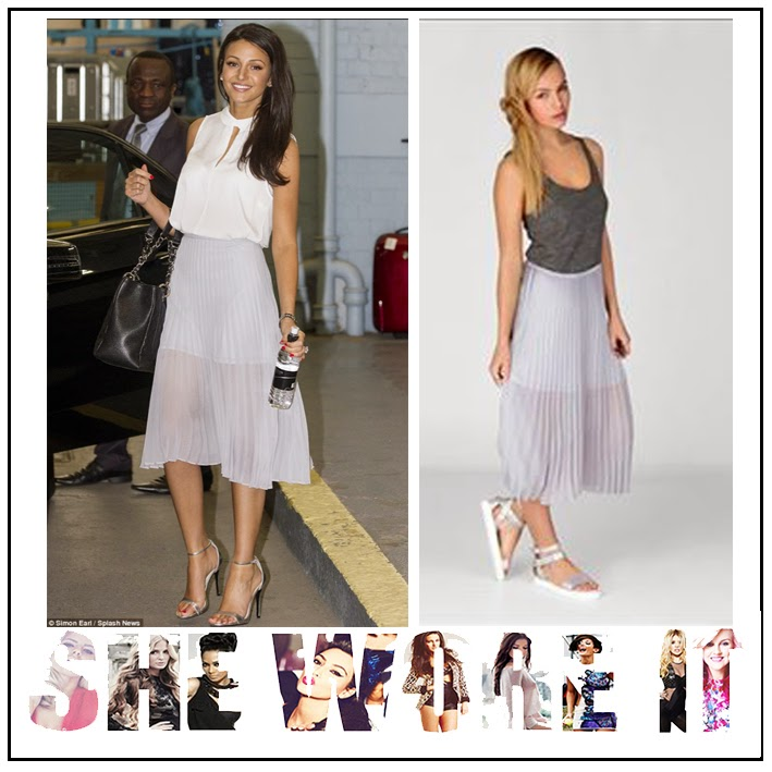 Collared, Coronation Street, French Connection, Keyhole Detail, Michelle Keegan, Peter Pan Collar, Sleeveless, This Morning, Top, White, USC, Pleated Skirt, Grey, Sheer, Midi Skirt, Lined,