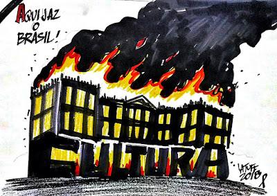 ilustração museu incêndio aqui jaz o Brasil