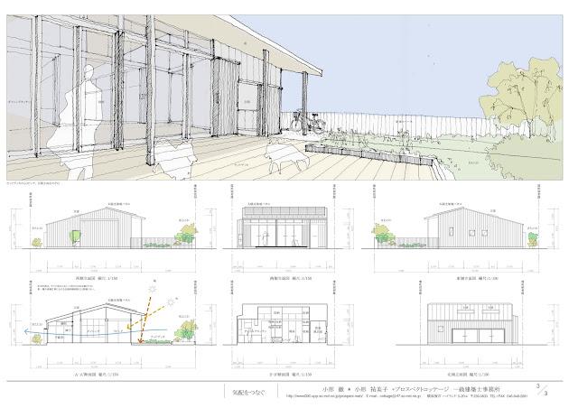 独身女性と二匹の犬のためのバリアフリーな平屋の家 立面・断面計画
