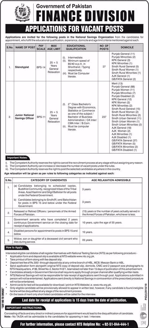 National Savings Jobs in Pakistan 2020