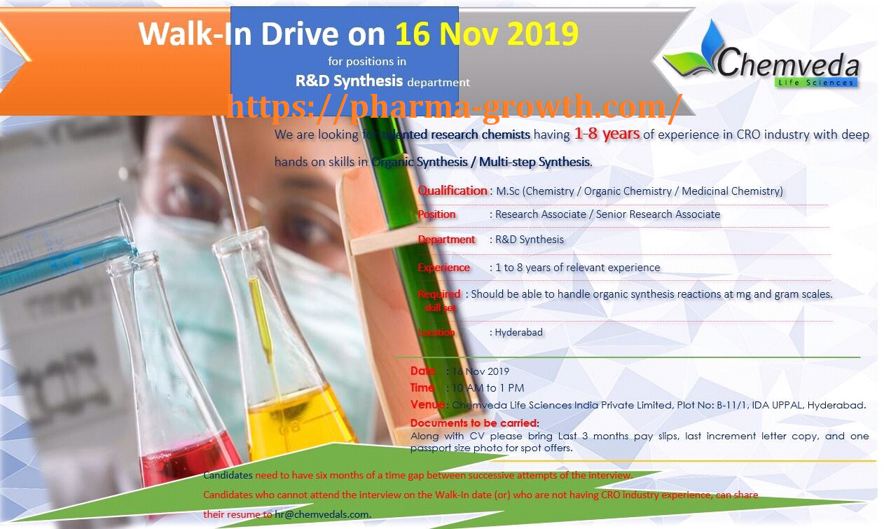 Chemveda Life Sciences – Walk-Ins for Multiple Positions in R&D Synthesis on 16th Nov' 2019
