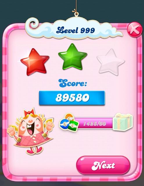 Candy Crush от уровня 999 до уровня 1000
