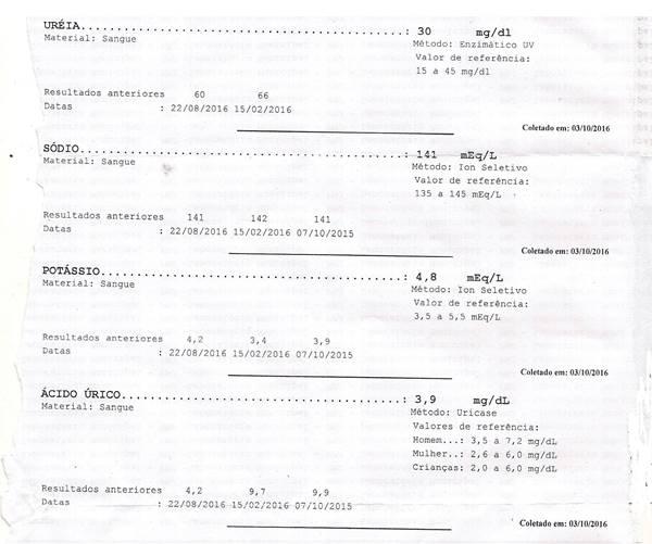 Resultado dos meus exames (Paulo Rocha) feito no dia 07 de outubro de 2016