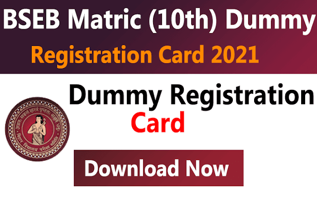 BSEB Bihar Board Matric (10th) Dummy Registration Card 2022