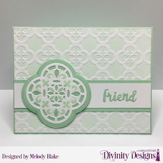 Embossing Folder Die/Duo: Quatrefoil  Custom Dies: A2 Landscape Card Base with Layer, Matting Rectangle, Celebration Words