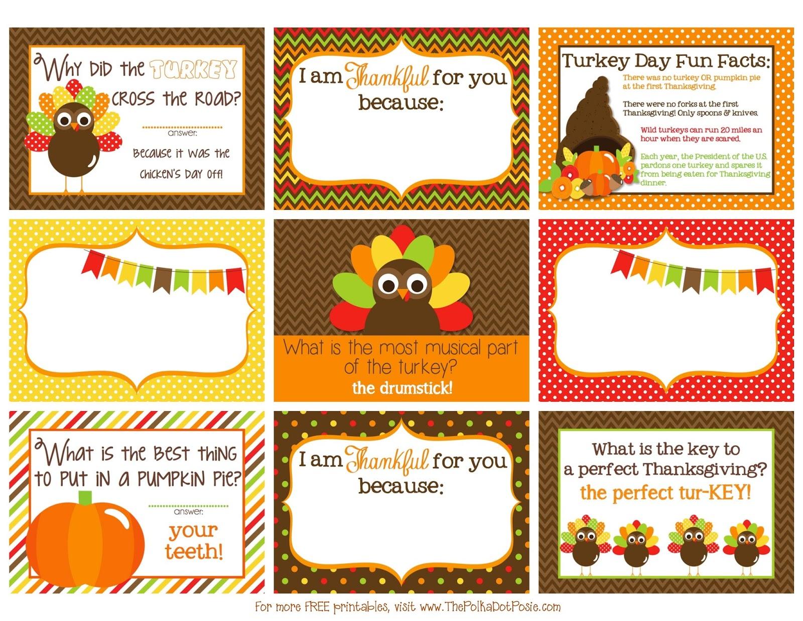 The Polka Dot Posie Printable Thanksgiving Lunch Box Notes