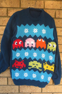 ugly christmas sweater jumper kitsch pacman space invaders christmas in july