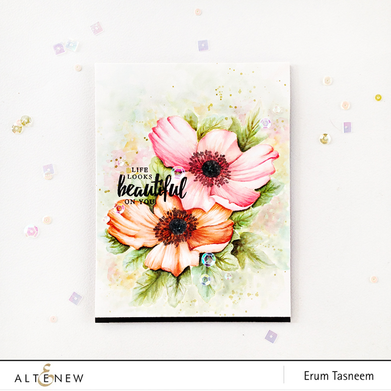 Altenew Build-A-Flower Anemone no line watercolouring using distress inks by Erum Tasneem - @pr0digy0