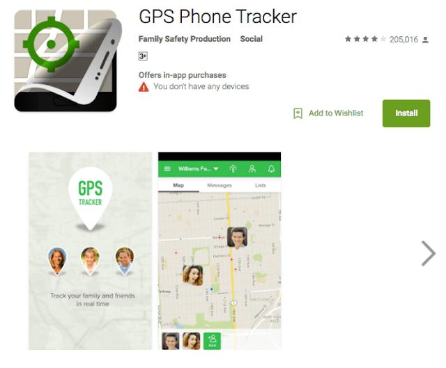 تطبيق phone tracker على متجر جوجل بلاي على الأنترنت
