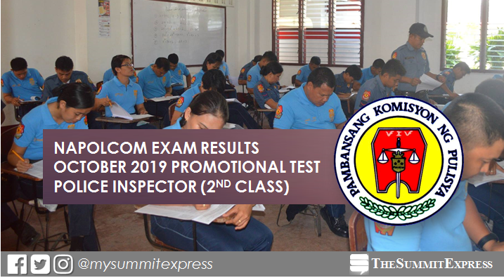 LIST OF PASSERS: October 2019 NAPOLCOM Exam result for Police Inspector (2nd Class)