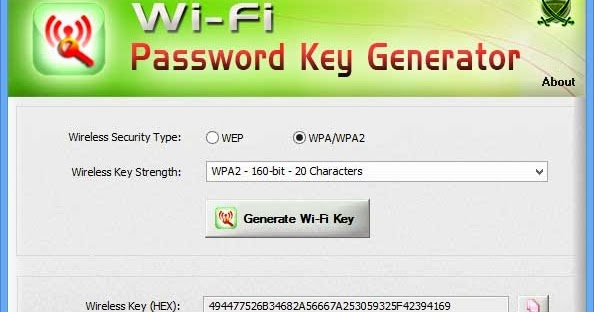 Wi-Fi Password Key Generator] Wireless WEP/WPA/WPA2 Security Key