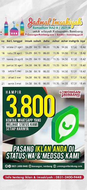 Jadwal Imsakiyah Ramadhan 1442 Hijriyah 2021 Masehi Kabupaten Rembang Minggu Ketiga