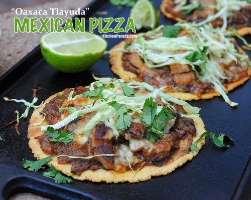 Mexican Pizza (Oaxaca Tlayuda), easy, healthy build-your-own crispy baked tortillas. Recipe, insider tips, nutrition, Weight Watchers points at Kitchen Parade.