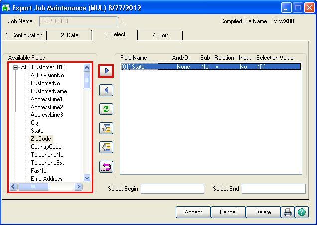 Export data from Sage 100 ERP using Visual Integrator Job