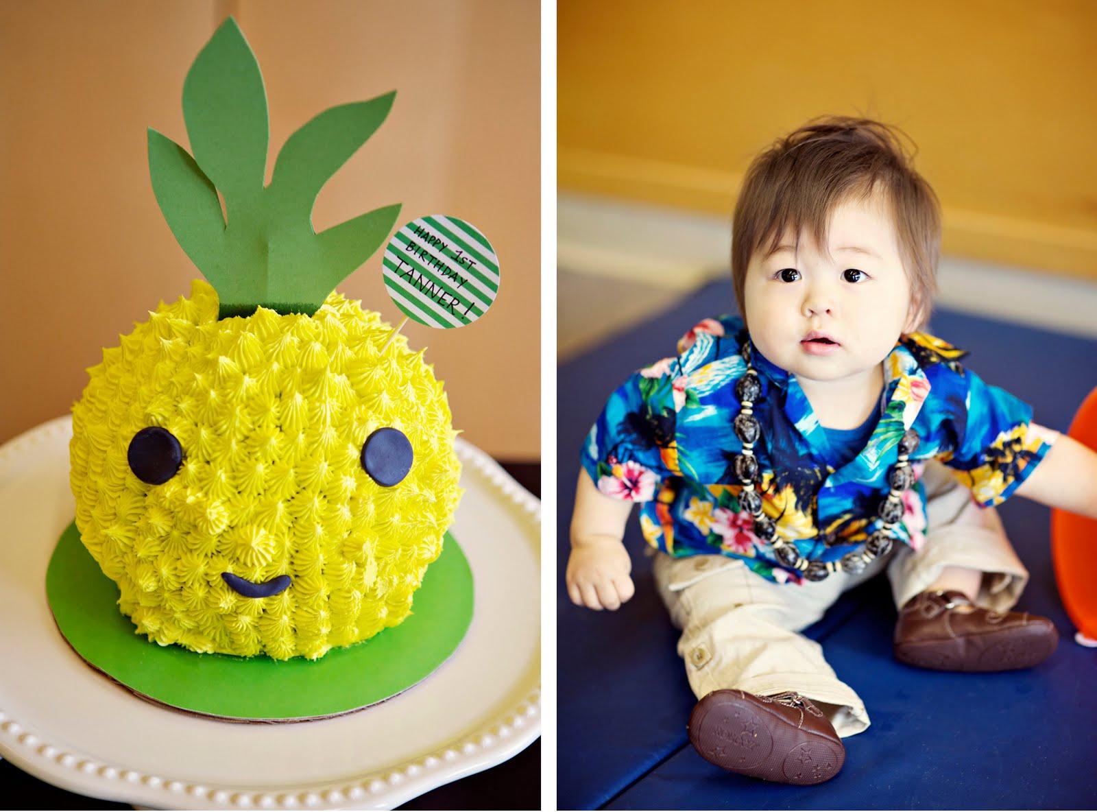 Tanner S Hawaiian 1st Birthday Bash Pineapple Head Cake