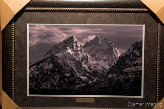 Photograph of a framed and matted version of Cramer Imaging's Misty Mountains photo in Grand Teton National Park, Wyoming