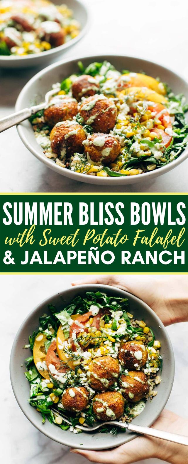summer bliss bowls with sweet potato falafel and jalapeño ranch #vegetarian #summerrecipe #veggies #vegan #vegetables