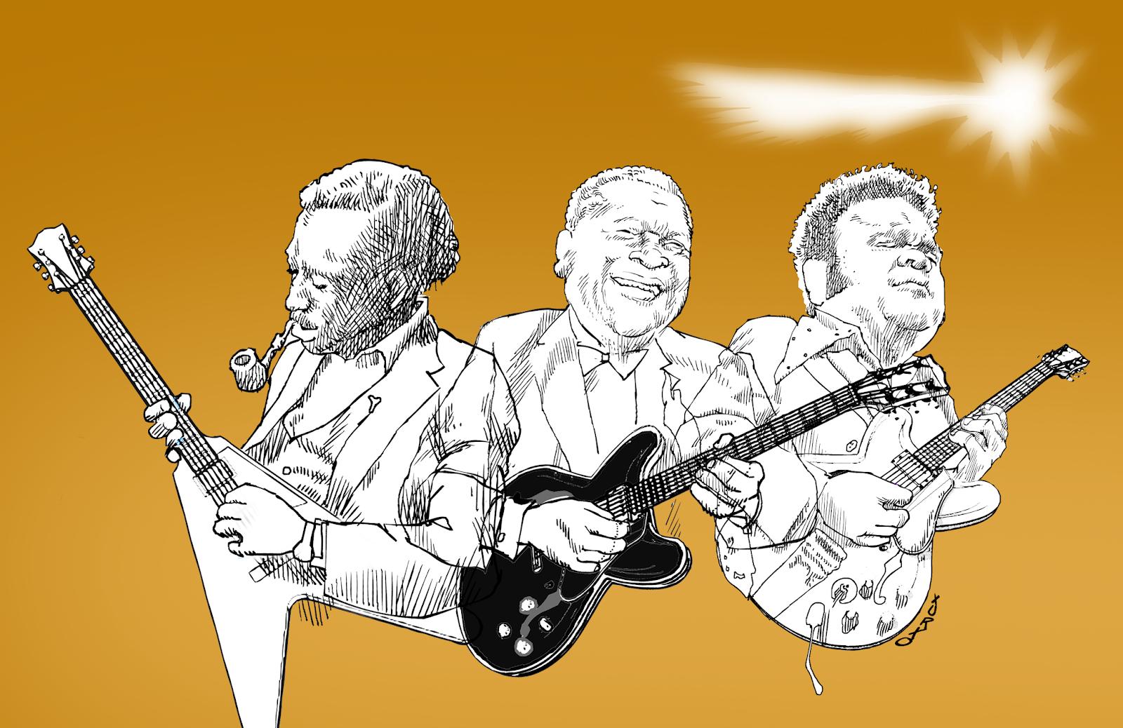 caricatura de los tres reyes del blues, Alfred King, B.B King y Freddie King