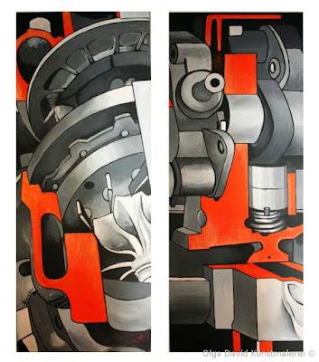 Auftragsmalerei für Ihr Unternehmen, zweiteiliges Gemälde für Treppenhaus