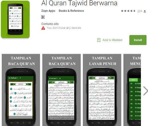 Aplikasi Al-Quran Terjemahan dan Tajwid Warna di Android online dan offline