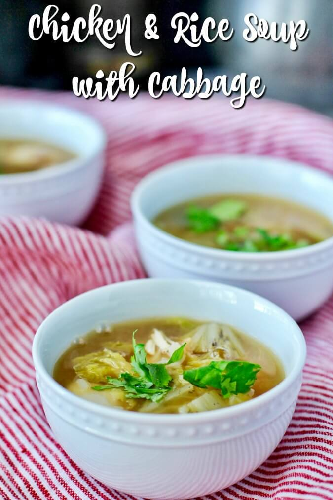 Chicken and Rice Soup with Cabbage in bowl