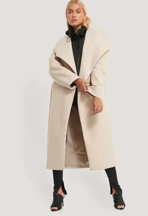 NA-KD Palton de firma de femei cre cu revere supradimensionate