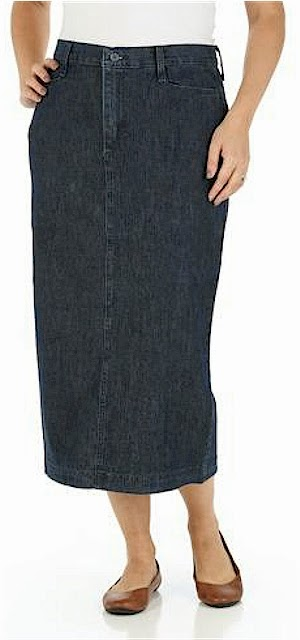 2f8a49ad9 This Lee Rider Casual denim skirt is at Walmart for $17.97. It comes in  three colors: black, Fresno denim and khaki, and a wide range of sizes from  6-20.