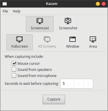 How To Run Kazam Screencaster On Xubuntu Without Xfce Panel?