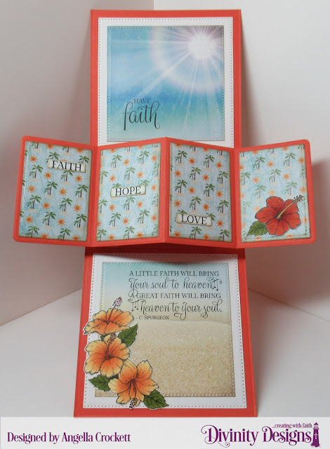 Divinity Designs LLC: Great Faith Stamp/Die Duos, By The Shore Paper Collection; Custom Dies: Twist & Pop with Layers, Sentiment Strips, Delicate Doily, Large Banners, Pierced Circles, Pierced Squares, A2 Card Base with Layer; Card Designer Angie Crockett