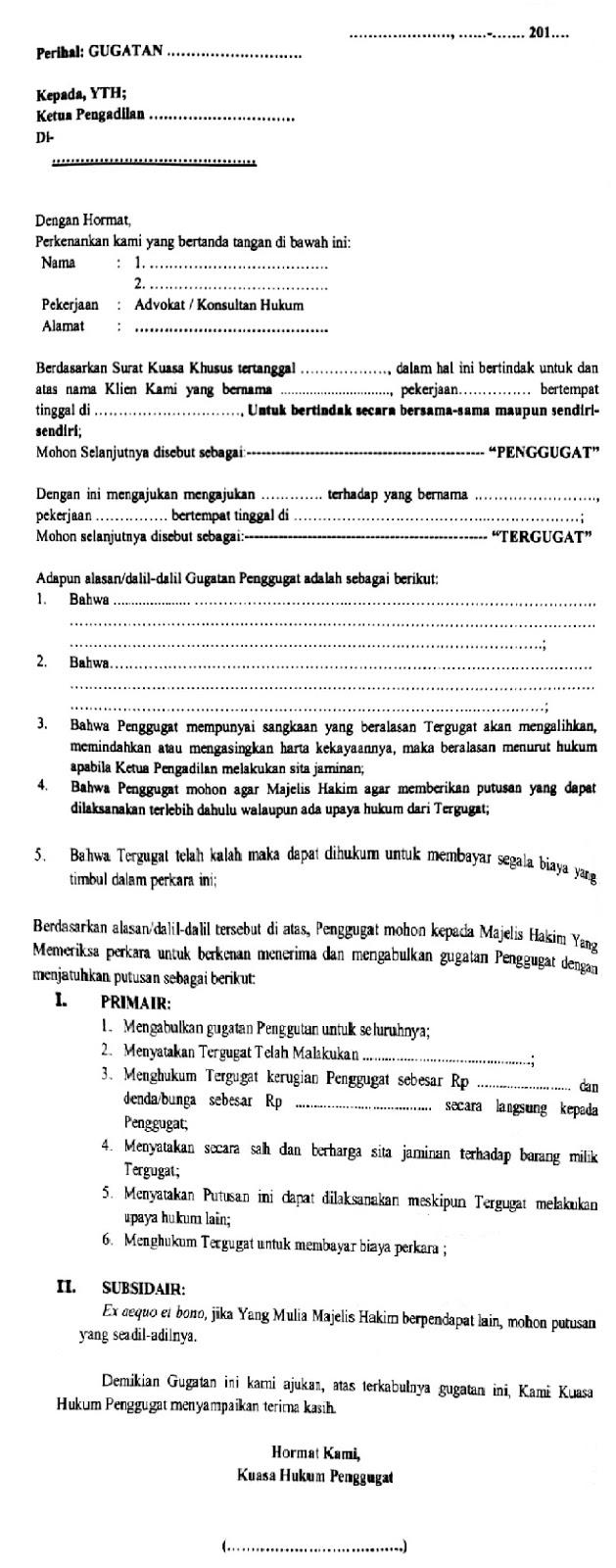 Surat Kuasa Dan Gugatan Materi Upa Wang Linggau