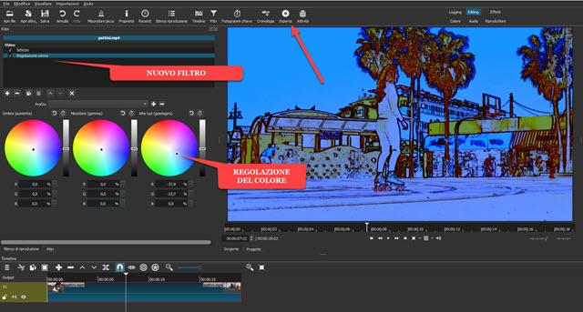 filtro per la regolazione del colore su shotcut