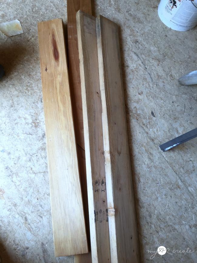 2x6 reclaimed lumber to build a modern bookshelf