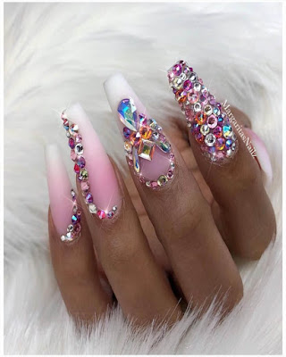 coffin nails desings rhinestones elegant and glamor