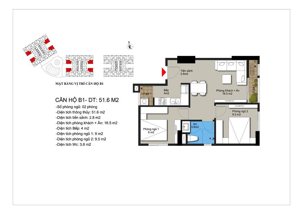 Căn hộ số 02,09,12,20 rộng 52,1m2 tòa CT1A, CT1B
