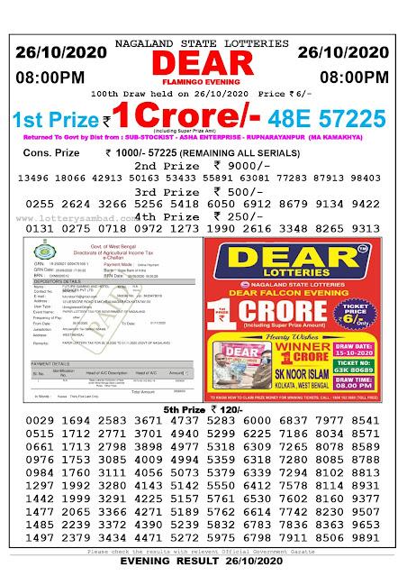 Lottery Sambad 26-10-2020, Lottery Sambad 8 pm results, Nagaland Lottery Results, Lottery Sambad Today Results Live, Night results