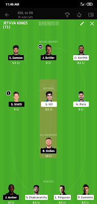 KKR VS RR Dream 11 Match 54 1 Nov 100% The Dream Team Winning IPL 2020