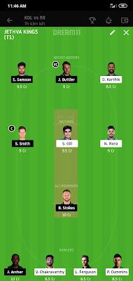 KKR VS RR Dream 11 Match 54 1 Nov 100% The Dream Team Winning IPL 2020