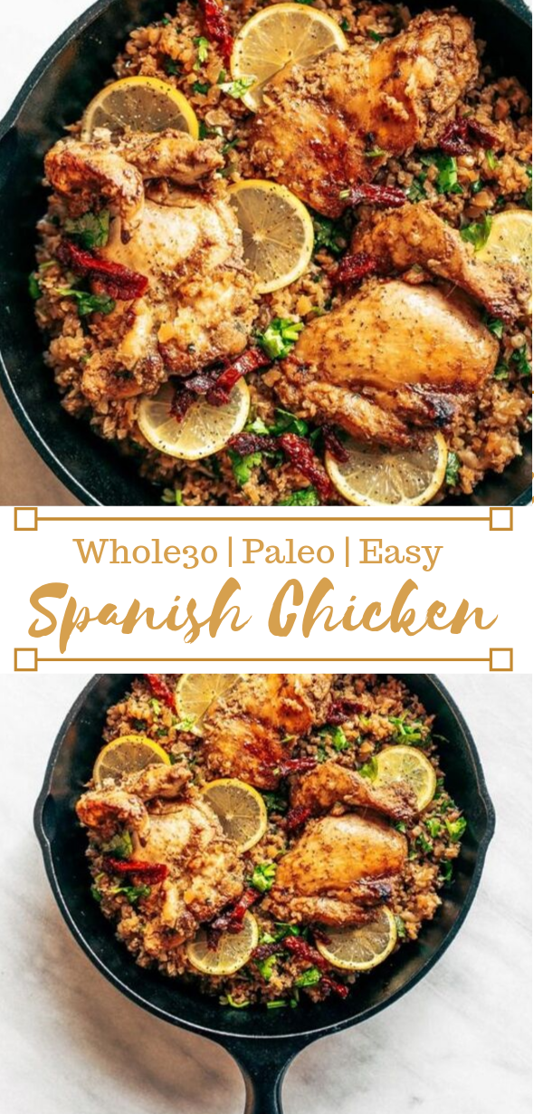 WHOLE30 SPANISH CHICKEN AND CAULIFLOWER RICE #whole30 #paleo #chicken #cauliflower #healthydiet