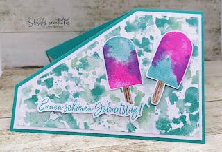 Farben: Bermudablau  Stempel: butterfly brilliance, Eiszeit Werkzeug: Papierschneider, Stanzformen: Stanzer Eistüte
