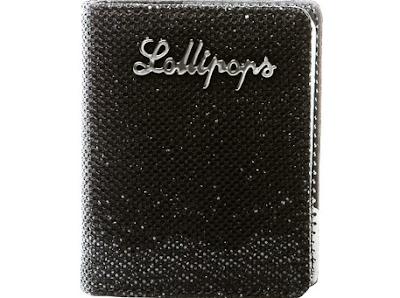 Porte-cartes noir en résille et paillettes Lollipops